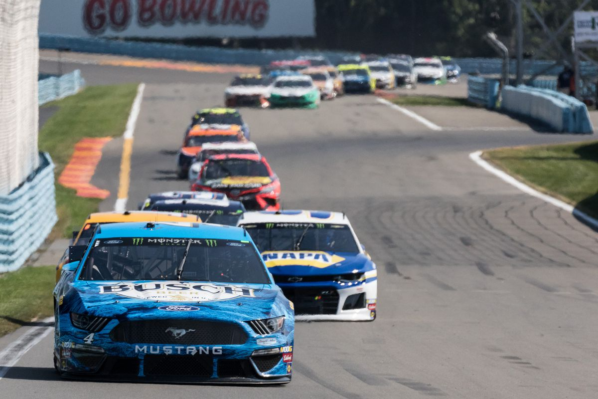 Kevin Harvick driver of the #4 Busch Beer Ford races down the short shoot heading into turn 6 the Monster Energy NASCAR Cup Series, GoBowling at The Glen on August 04, 2019, at Watkins Glen International in Watkins Glen, NY.