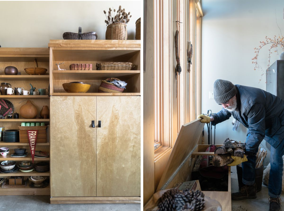 Shelves and cabinetry crafted from birch plywood hold a collection of plates and dishes. Guy Gangi loads wood into a log box hidden in a built-in bench.
