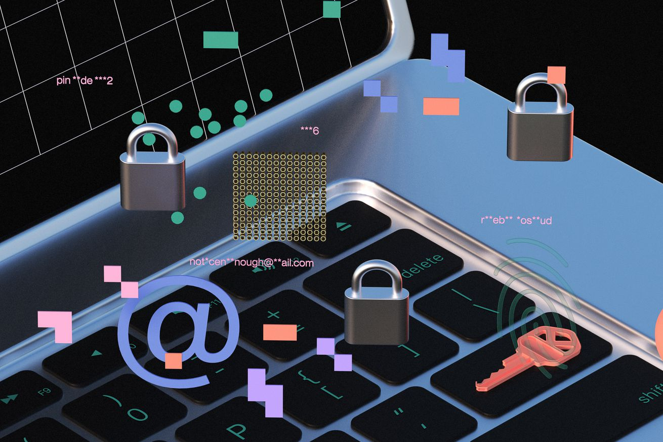 An illustration of a laptop with three locks, a key, an at sign, a key and colorful pixels all randomly placed around the image.