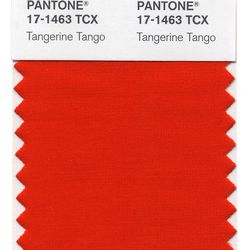 In this image courtesy of Pantone, the color swatch for Pantone's Tangerine Tango is shown. The world doesn't need more gray, and the blues are covered, too. What consumer products need is a jolt, a shot of energy and boldness, all of which comes from Tangerine Tango, the reddish-orange hue that Pantone has picked as its top color for 2012.