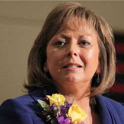 **HOLD FOR STORY MOVING FOR SATURDAY AMS** FILE - In this Jan. 17, 2012 photo, New Mexico Gov. Susana Martinez speaks in Santa Fe, N.M.  Martinez's paternal grandfather became a U.S. citizen in 1942 after lawfully entering the country more than two decades earlier, according to documents obtained by The Associated Press that resolve questions over whether the Republican governor's ancestor was an illegal immigrant.