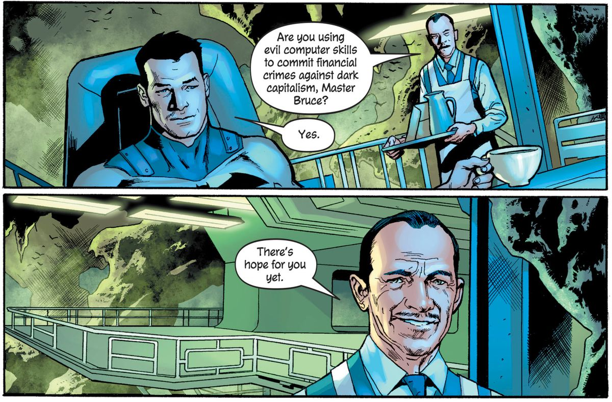 """""""Are you using evil computer skills to commit financial crimes against dark capitalism, Master Bruce?"""" asks Alfred. """"There's hope for you yet."""" From The Batman's Grave #3, DC Comics (2019)."""