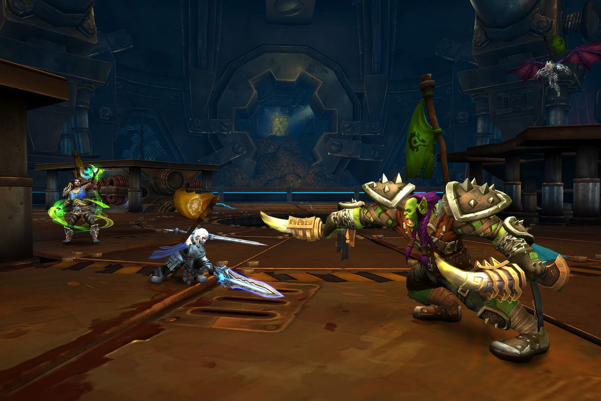 World of Warcraft - two armored combatants fight in the game's PvP mode
