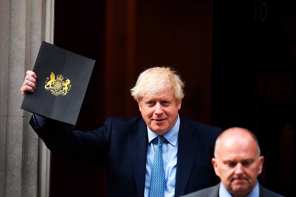 Britain's Prime Minister Boris Johnson leaves 10 Downing Street.