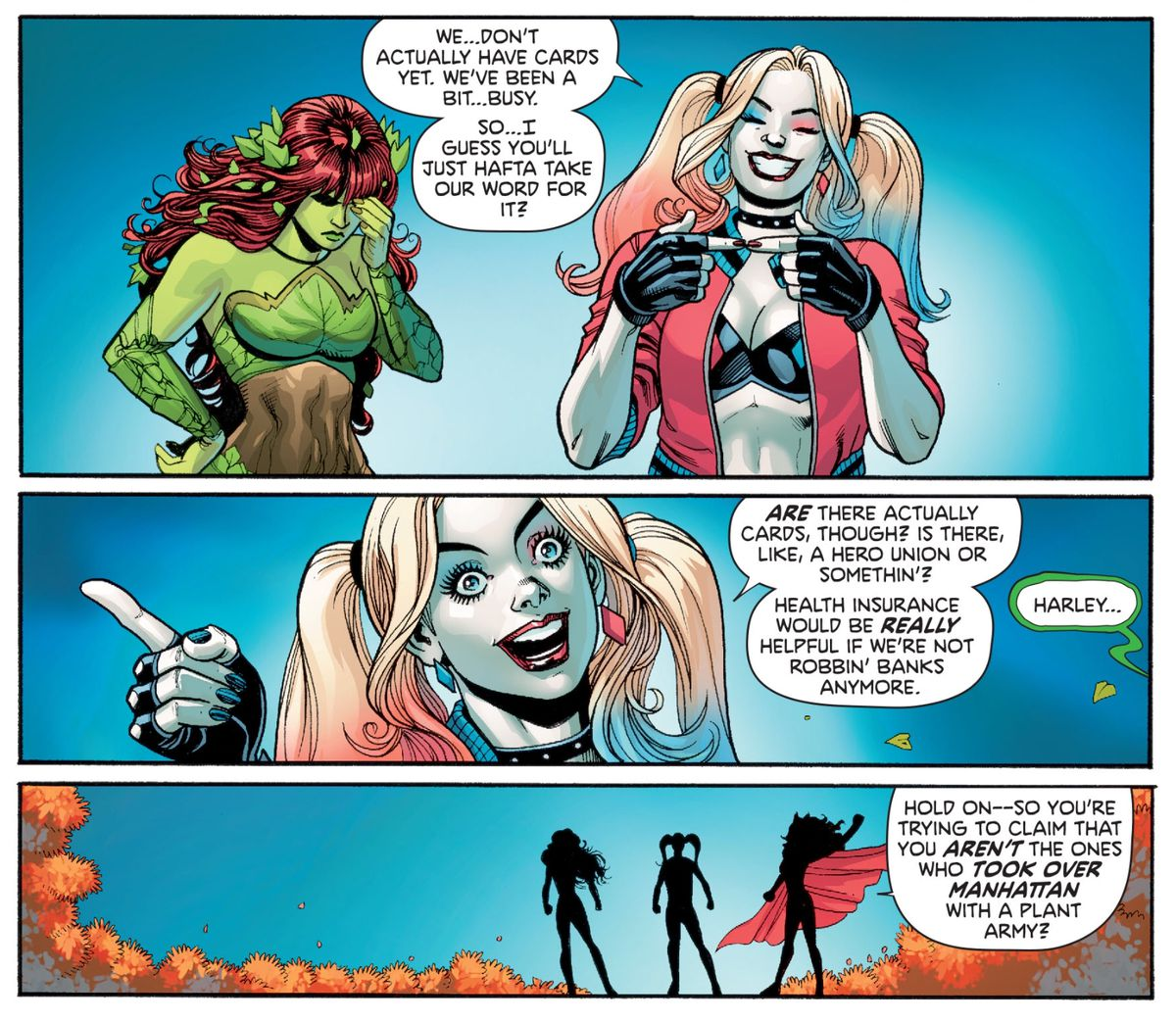 Harley Quinn grills Batwoman about workplace benefits for becoming a superhero, much to Poison Ivy's chagrin, in Harley Quinn & Poison Ivy #5, DC Comics (2020).