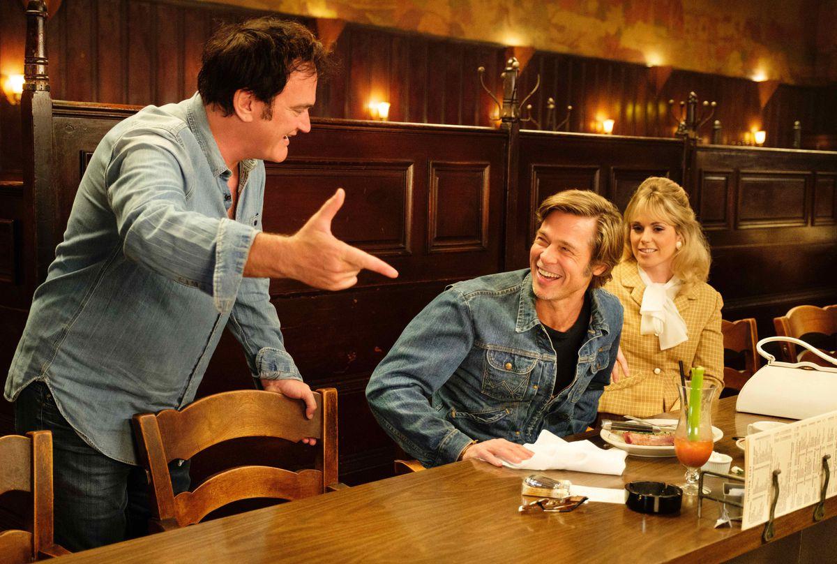 Quentin Tarantino directs Brad Pitt.