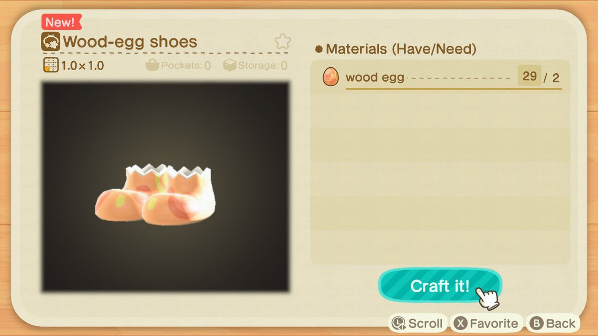 A crafting screen in Animal Crossing showing how to make a Wood-Egg Shoes