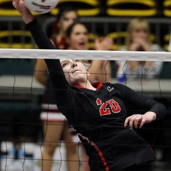 Morgan faces North Sanpete in the girls 3A high school volleyball state championship game in Orem on Thursday, Oct. 26, 2017.