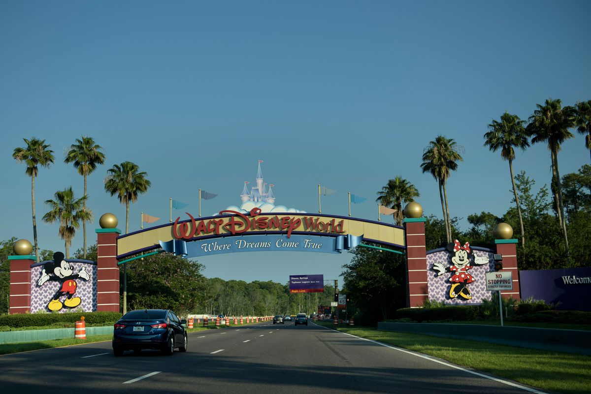 The entrance to the Walt Disney World theme park is seen June 15, 2016 in Orlando, Florida.