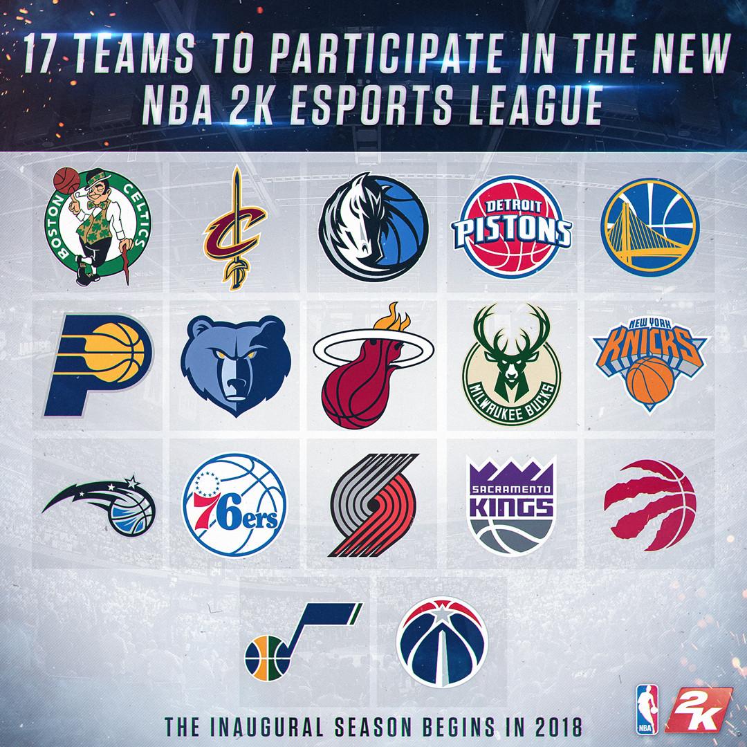 NBA 2K esports league - inaugural 17 NBA teams