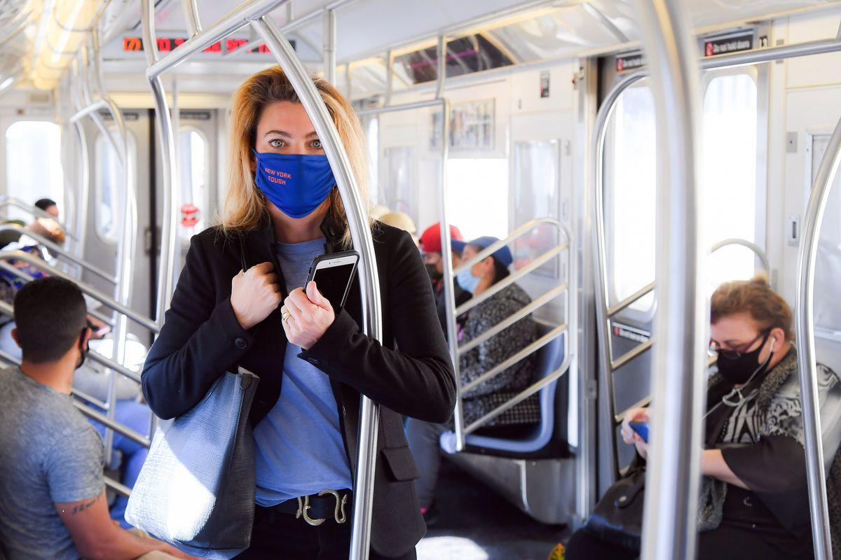 Interim New York City Transit President Sarah Feinberg rides the 7 train, June 8, 2020.