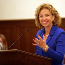 Democratic National Committee Chairwoman Debbie Wasserman Schultz speaks at the DNC's Executive Committee meeting at the Montage Deer Valley in Park City on Saturday, Dec. 1, 2012.