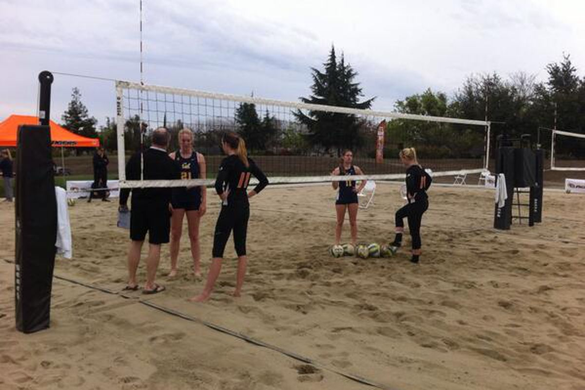 a photo from the historic first Sand Volleyball match in Cal history