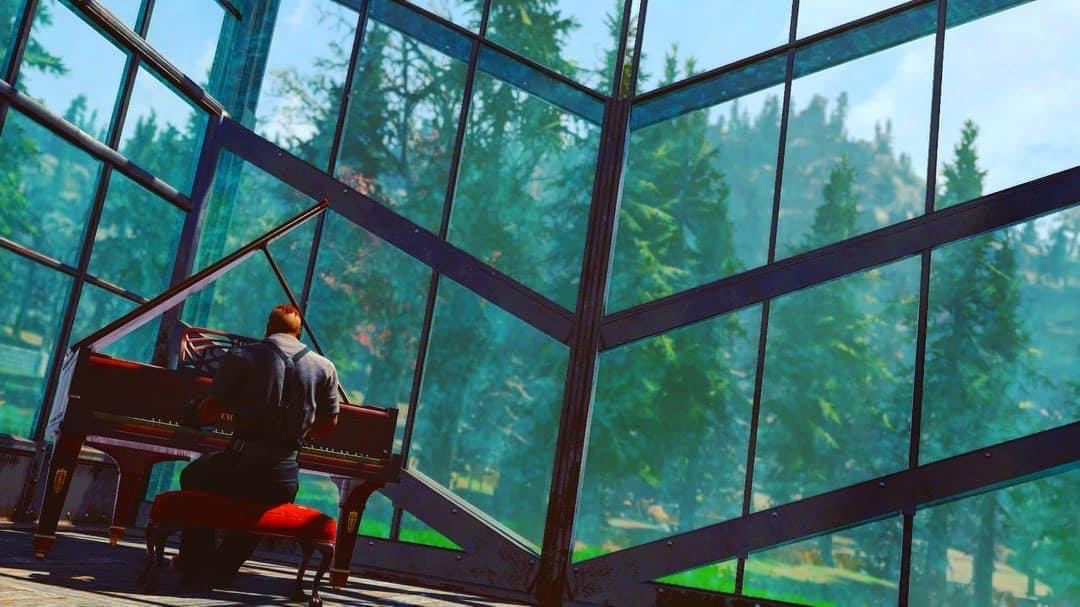 Fallout 76 - a player sits at this piano  in the middle of a big greenhouse, with stark lines framing him as he plays.