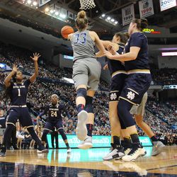 UConn's Katie Lou Samuelson (33) throws a pass during the Notre Dame Fighting Irish vs UConn Huskies women's college basketball game in the Women's Jimmy V Classic at the XL Center in Hartford, CT on December 3, 2017.