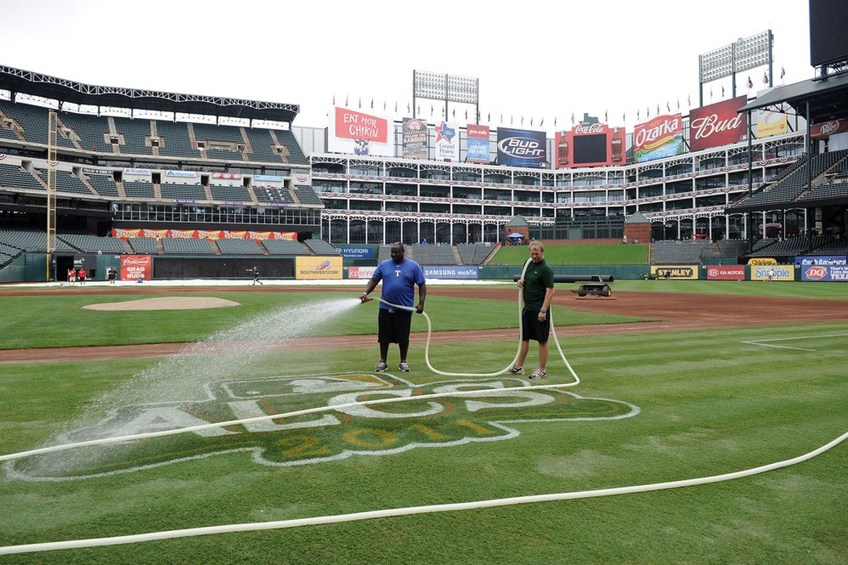 The ALCS logo was all wet, Arlington was not.