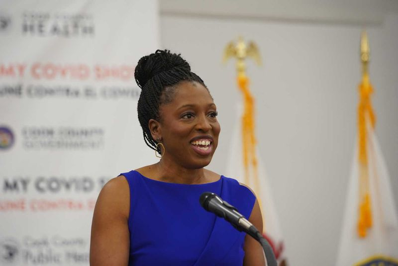Illinois Public Health Director Dr. Ngozi Ezike speaks at the Cook County's Forest Park Community Vaccination Site on Thursday.
