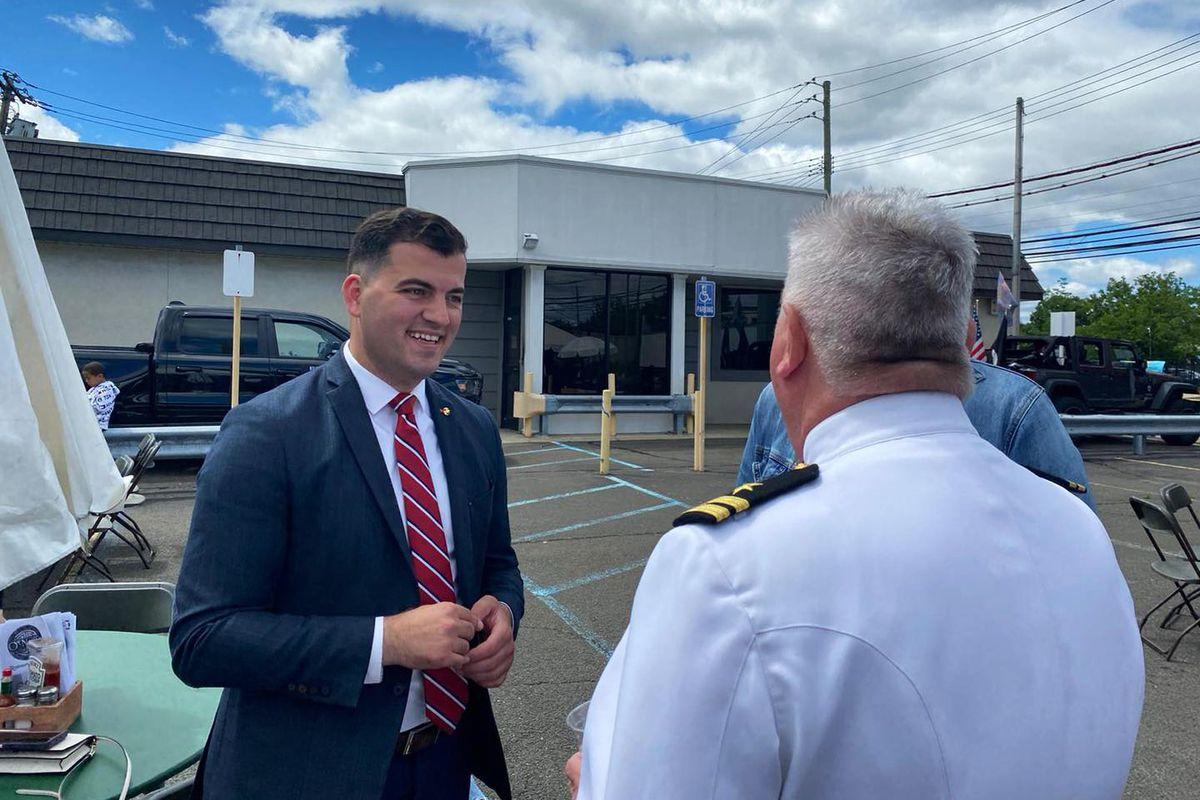 Former Marine Marko Kepi campaigns for City Council on Staten Island, June 1, 2021.