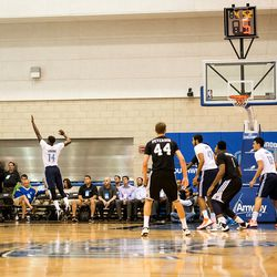 English connects for a corner three.