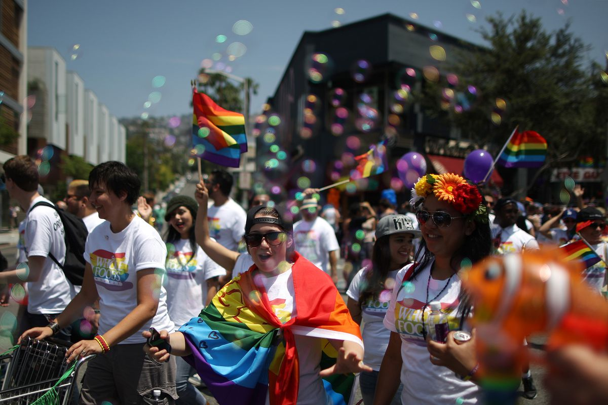 Advocates in California show their support for LGBT rights.