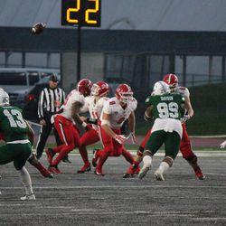 Ball State Quarterback Drew Plitt fumbling the opening snap.<br>