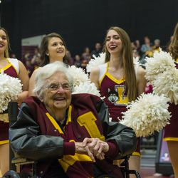 Sister Jean Dolores-Schmidt, the Loyola Ramblers Chaplain at the Gentile Arena. | Tyler LaRiviere/Sun-Times