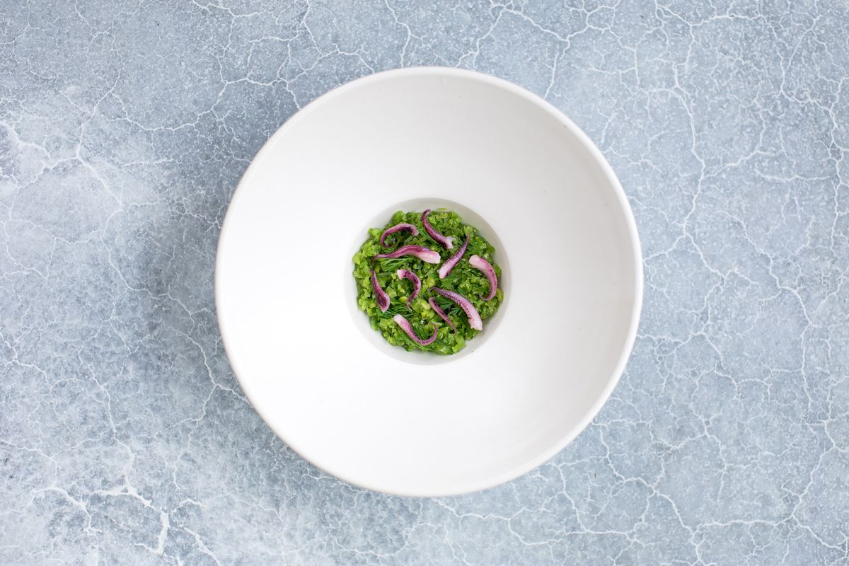 A small green risotto comes topped with little squid tentacles