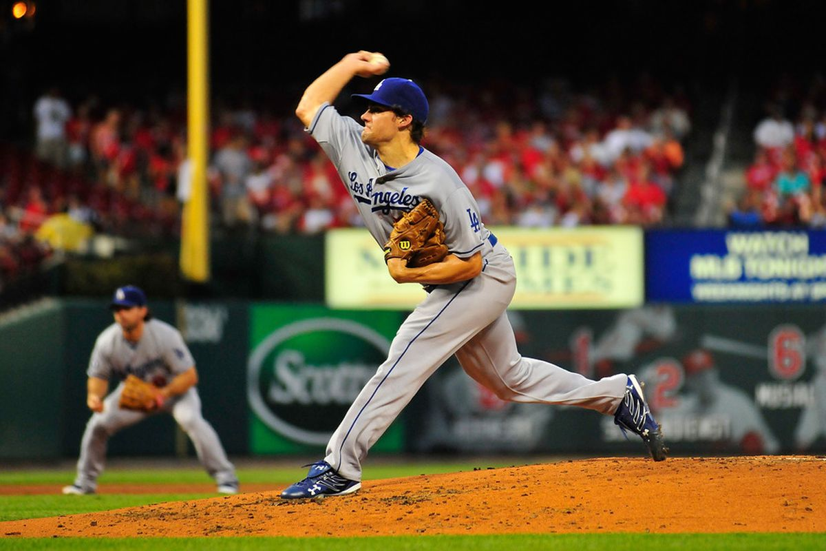 Nate Eovaldi of the Los Angeles Dodgers throws to a St. Louis Cardinals batter at Busch Stadium on August 22, 2011 in St. Louis, Missouri.  (Photo by Jeff Curry/Getty Images)