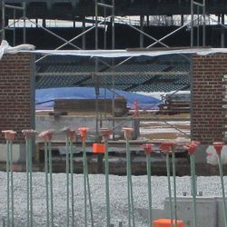 View of enlarged gate in right-field inner wall -