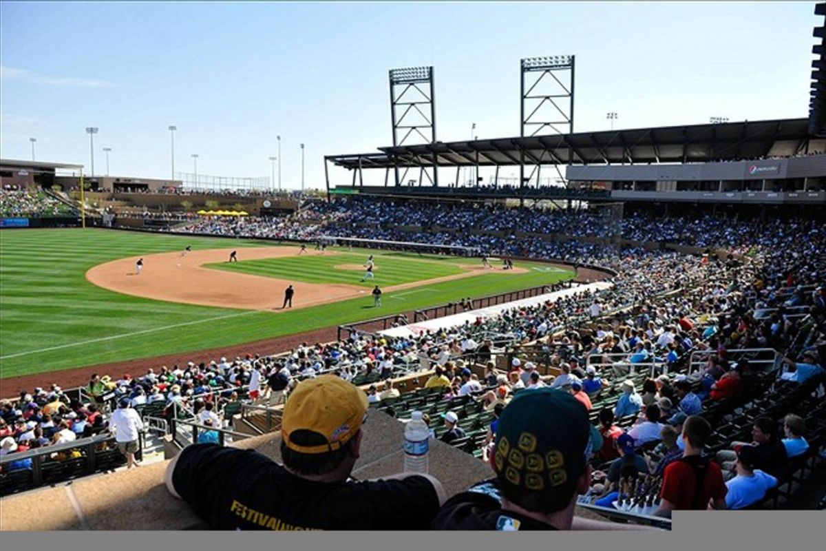 March 9, 2012; Scottsdale AZ, USA; General view of Salt River Fields at Talking Stick as fans watch during the fifth inning of a game between the Oakland Athletics and Colorado Rockies. Mandatory Credit: Andrew B. Fielding-US PRESSWIRE