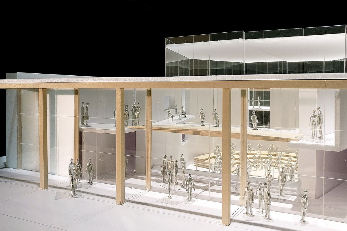 A photo of a 3D model of the music center.