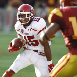 Utah Utes running back John White IV (15) as the University of Utah plays USC at the Los Angeles Memorial Coliseum  in the first ever PAC-12 game Saturday, Sept. 10, 2011, in Los Angeles, Calif.  (Tom Smart, Deseret News)