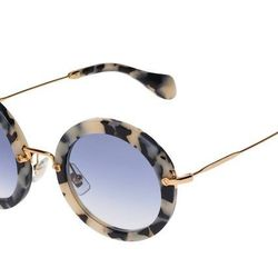 "<b>Miu Miu</b> Noir round tortoiseshell glasses with blue gradient lenses, <a href=""http://www.miumiu.com/en/US/e-store/dep/eyewear/cat/acetate/product/SMU13N_EHAO_F08V1#"">$365</a>"