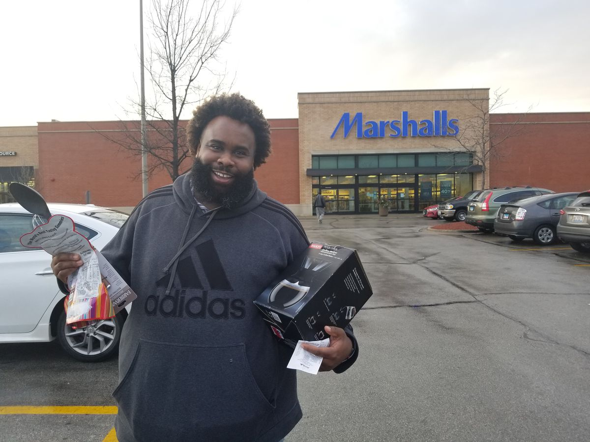 DeKevious Wilson outside theMarshalls in Marshfield Plaza | Manny Ramos for the Sun-Times