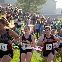Runners compete in the 4A state girls high school cross-country championship in Cedar City on Wednesday, Oct. 21, 2020.