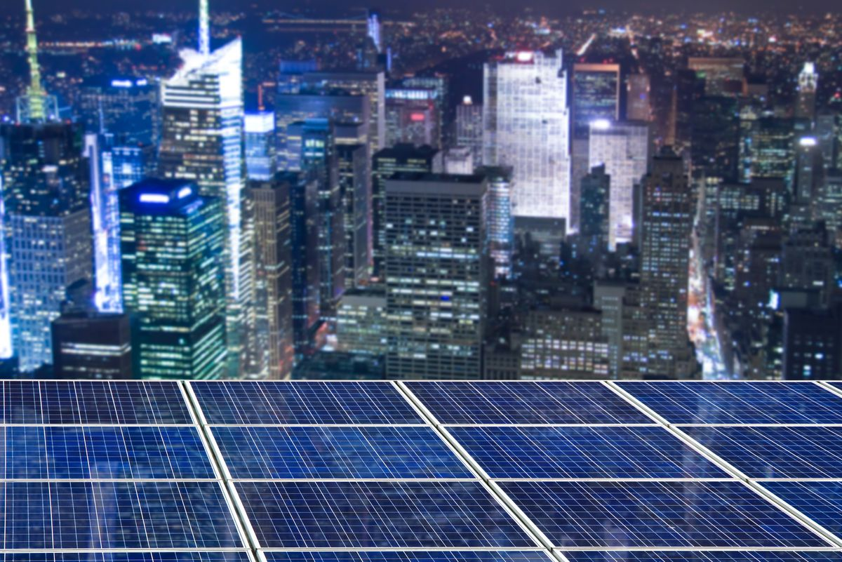 Solar panels over New York City.