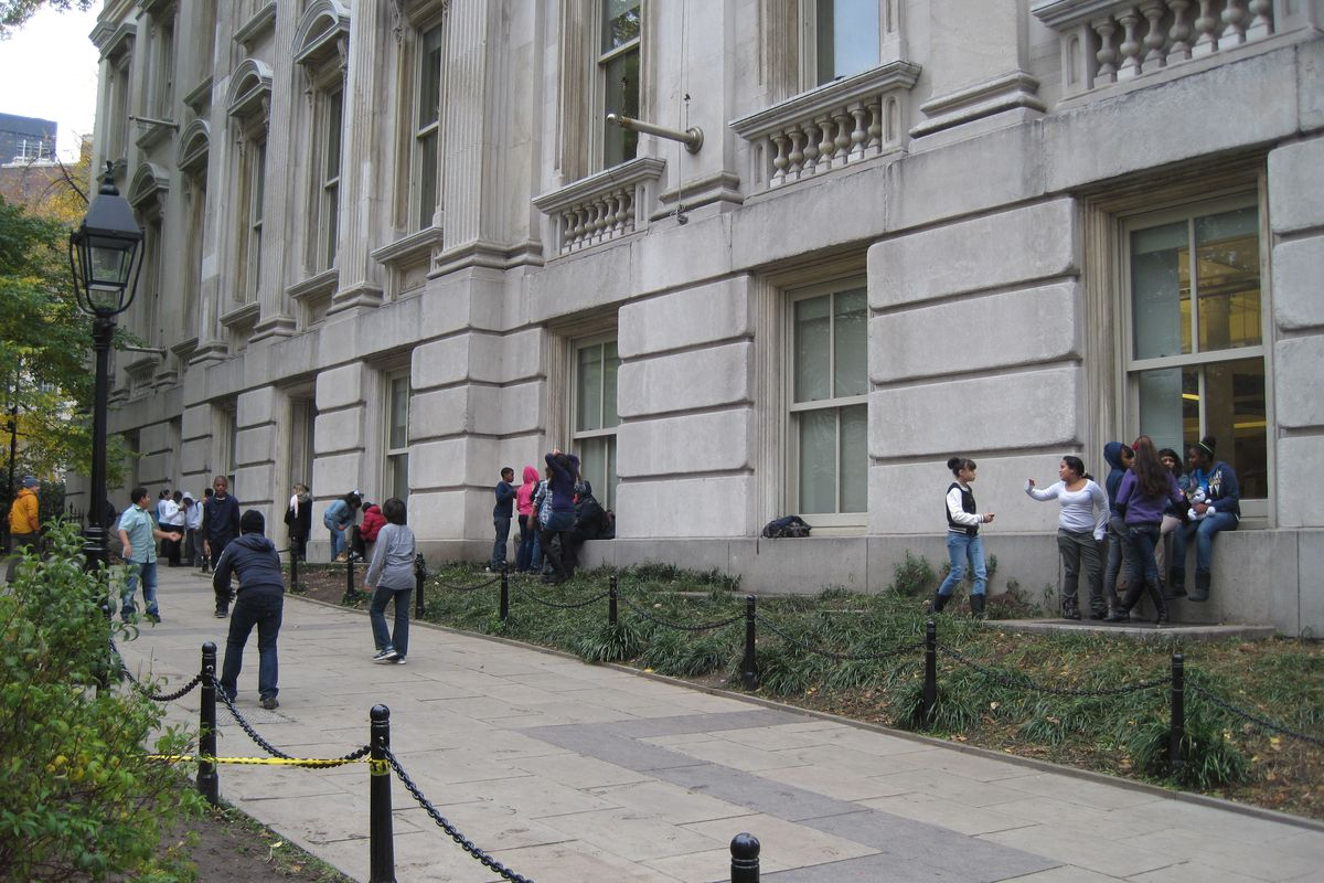 Students from Innovate Manhattan Charter School during recess outside Tweed Courthouse in 2011.
