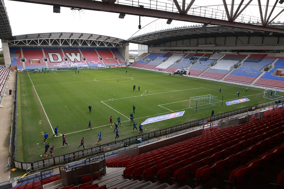 A general view of DW Stadium is seen prior to the Sky Bet League One match between Wigan Athletic and Ipswich Town at DW Stadium on March 27, 2021 in Wigan, England.