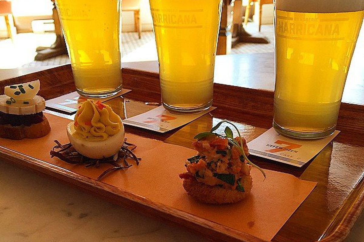 Deviled eggs and beers at Harricana