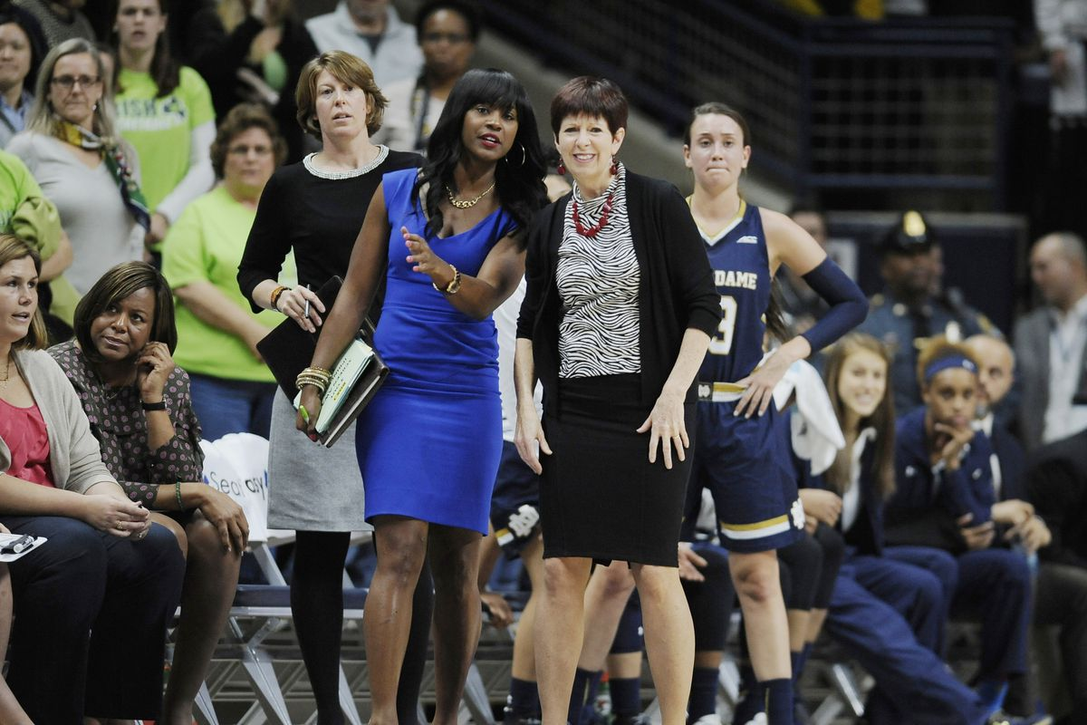 Niele Ivey, left, will succeed Muffet McGraw as Notre Dame basketball coach.