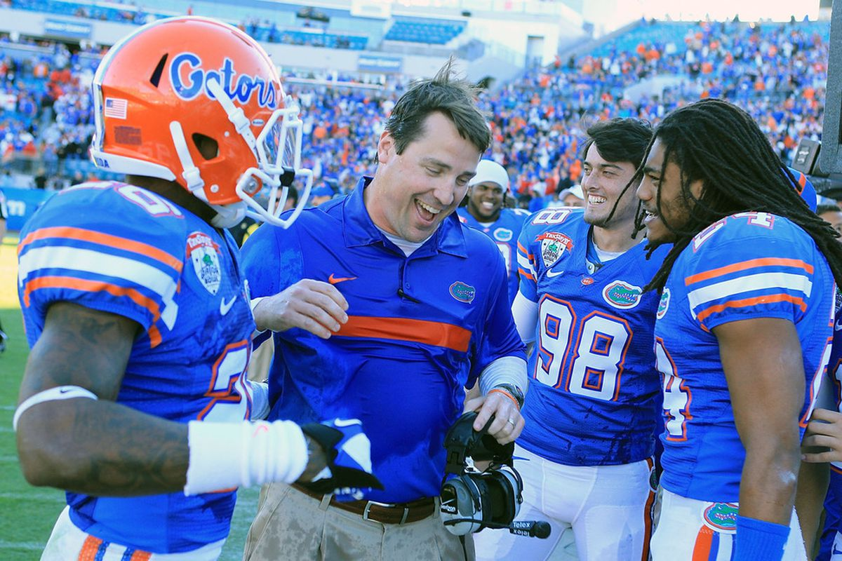 16 verbal commits by mid-May calls for a happy Muschamp pic.  (Photo by Scott Halleran/Getty Images)