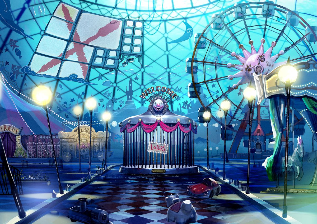Artwork of a cage in an amusement park in Death March Club