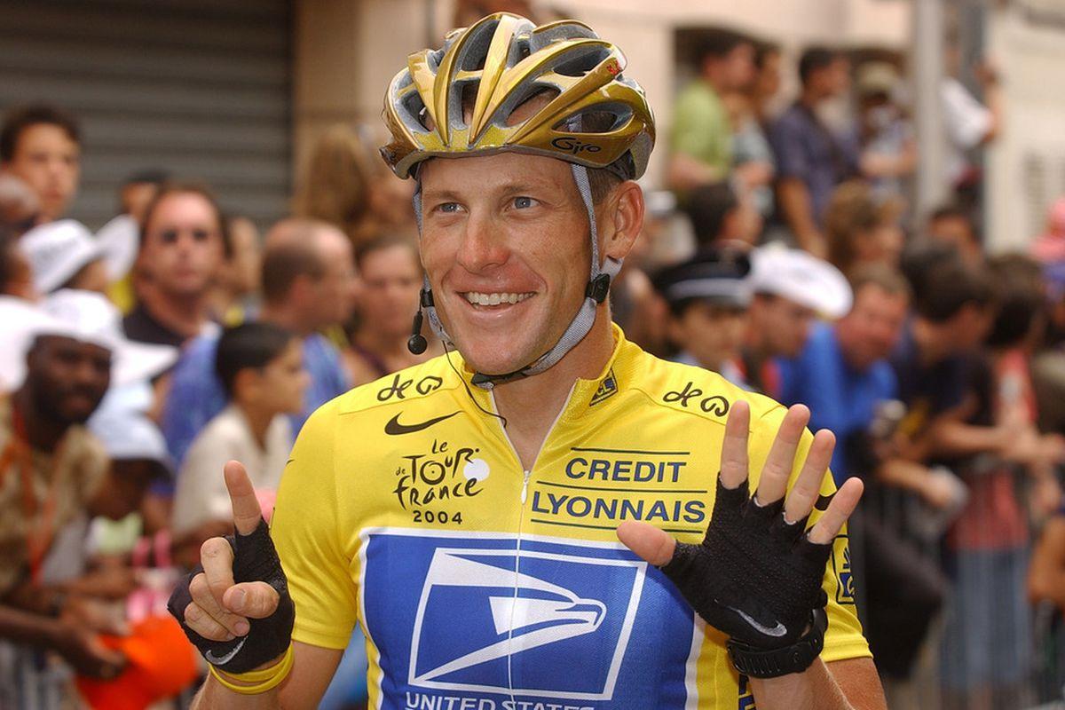 July 25, 2004; Paris, FRANCE; Lance Armstrong (USA) reacts after winning the 2004 Tour de France.  Mandatory Credit: Jean Louis-Fel/Presse Sports via US PRESSWIRE