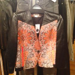 Leather-detailed blazer, $199