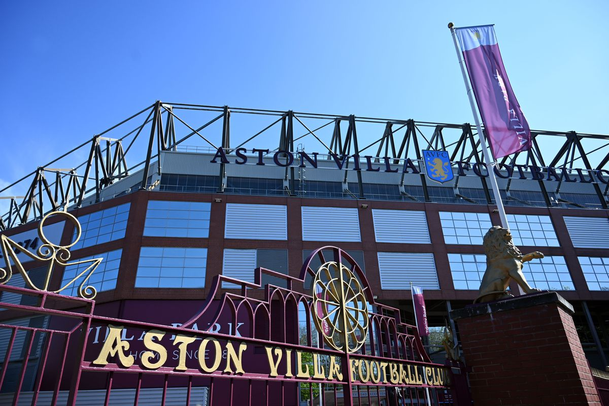 The gates of Aston Villa football club's stadium, Villa Park are pictured in the spring sunshine in Birmingham, central England on April 19, 2020. (Photo by Paul ELLIS / AFP)