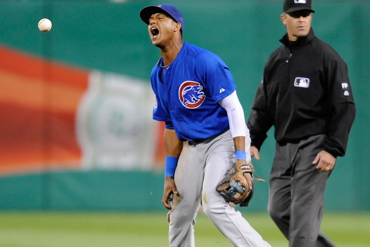 Starlin Castro made 22 errors in 2013. This is one of them.