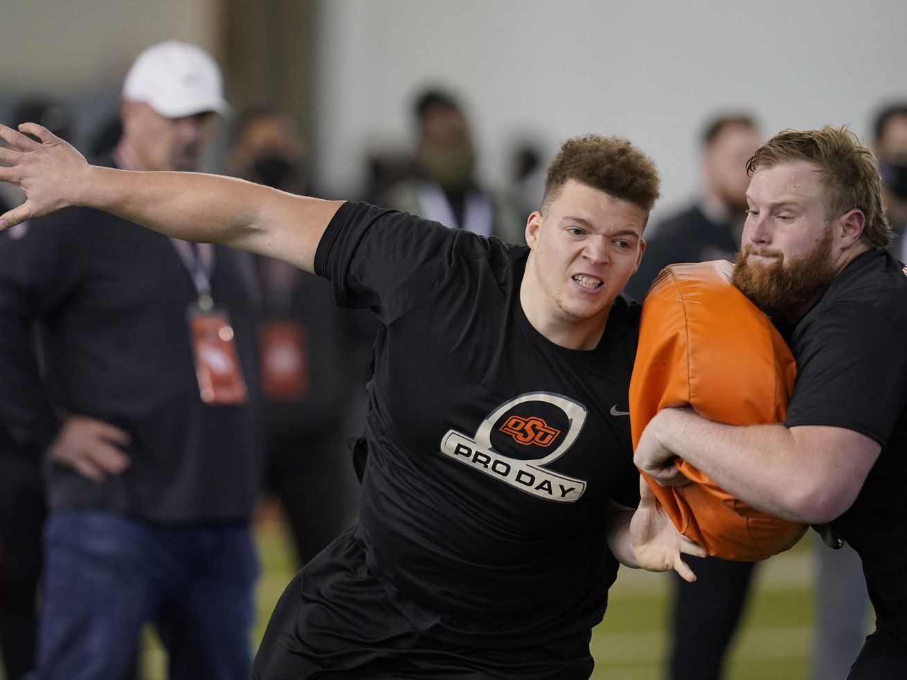 Oklahoma State 6-6, 320-pound offensive tackle Teven Jenkins (at his pro day on April 1 in Stillwater, Okla.), a former college teammate of Bears' rookie tackle Arlington Hambright, could be the Bears' first-round draft pick Thursday night.