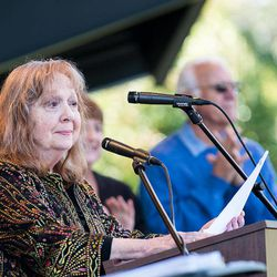 """In this photo provided by Hobart Jones, Actress Betty Lynn, who played Thelma Lou on """"The Andy Griffith Show,"""" reads remarks from Rance Howard, father of film director Ron Howard, at the annual Mayberry Days celebration in Mount Airy, N.C. on Sunday, Sept. 30., 2012, This weekend's celebration was the first since the death of Griffith, who died July 3 at his home in Manteo, N.C."""