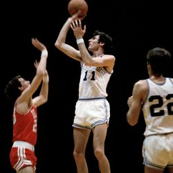 BYU great Kresimir Cosic rises up for a jumper.