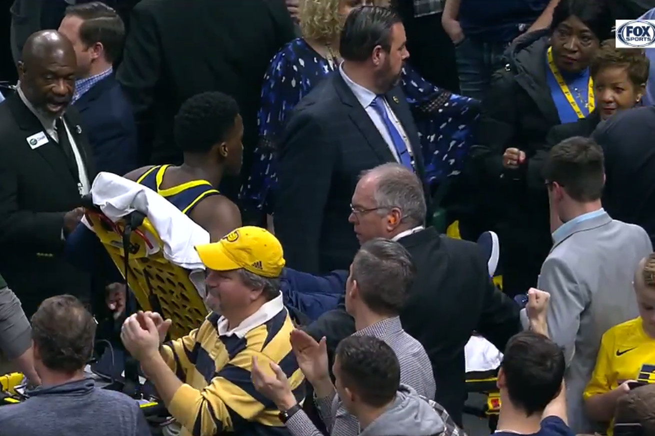 Screen Shot 2019 01 23 at 5.00.34 PM.0 - Victor Oladipo stretchered off court with 'serious' knee injury